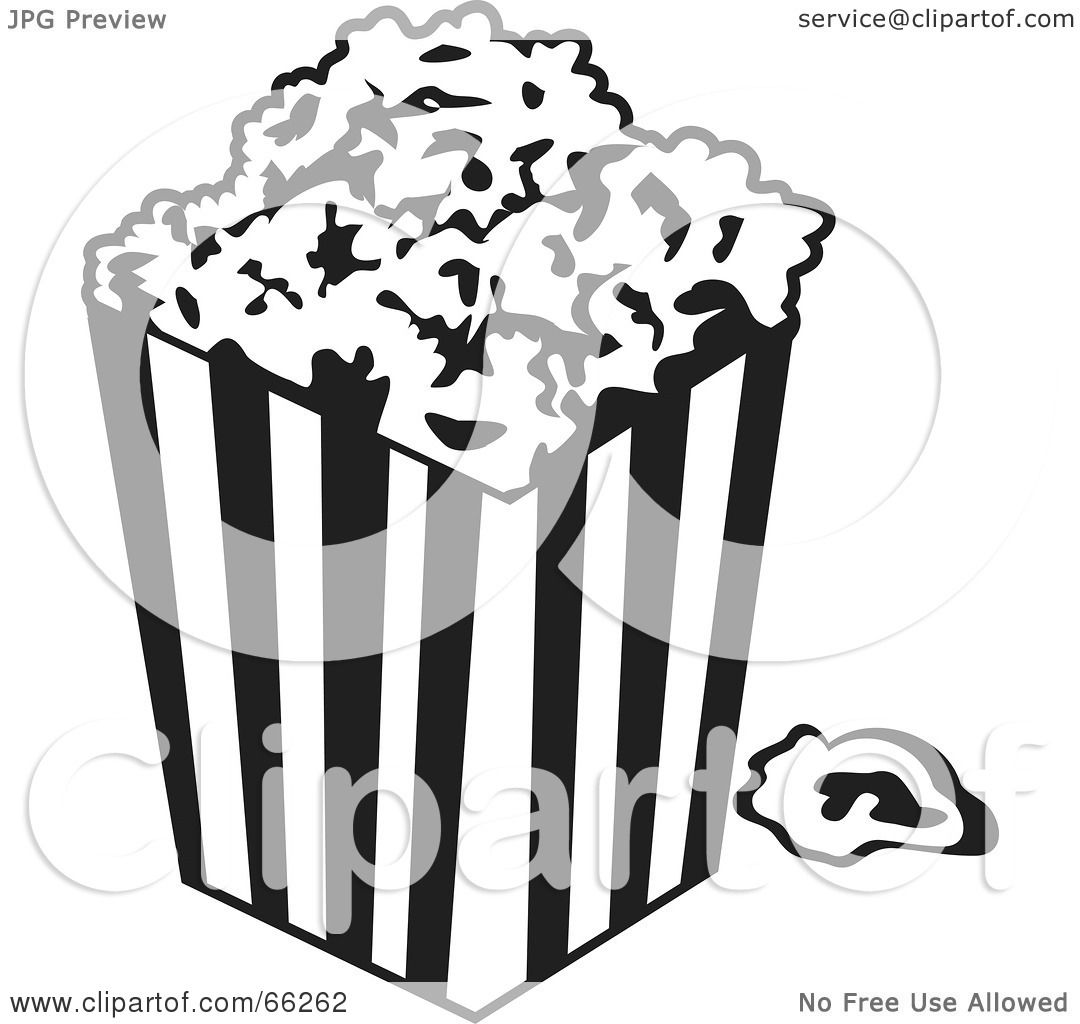 ... Illustration of a Black And White Movie Popcorn Container by Prawny