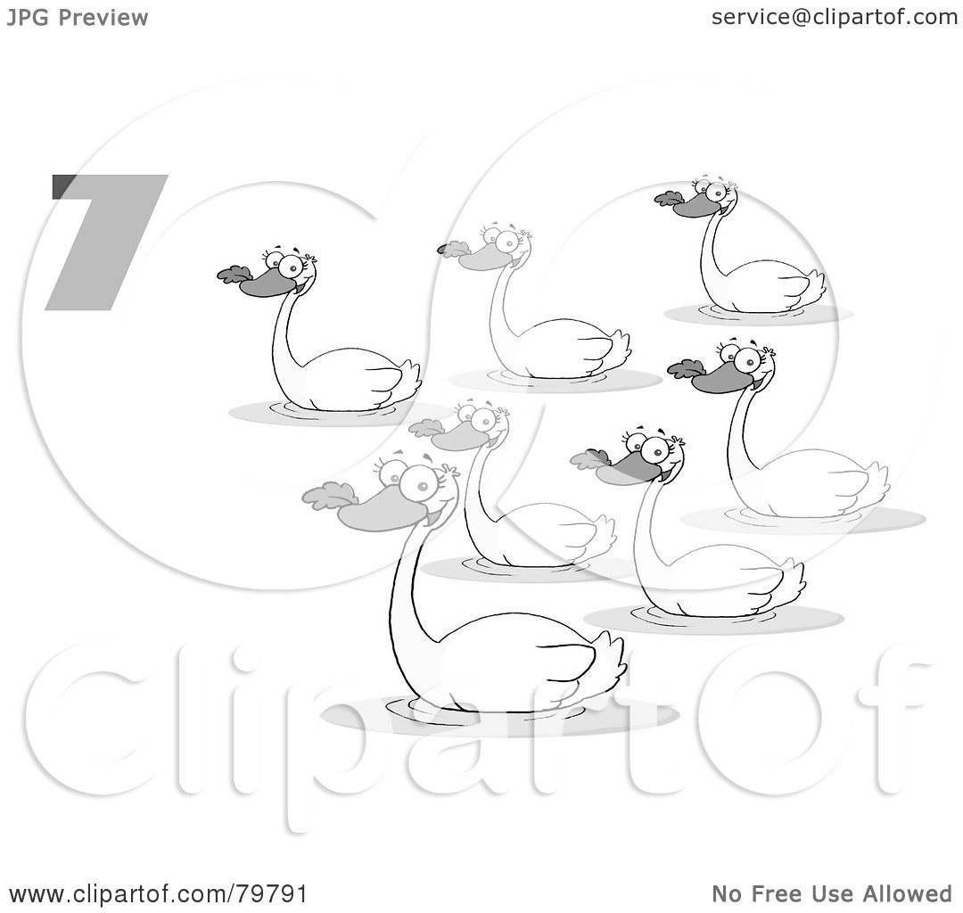 Illustration of a black and white number seven by swimming swans