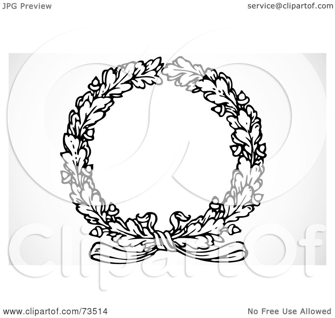 royalty free rf clipart illustration of a black and white oak leaf