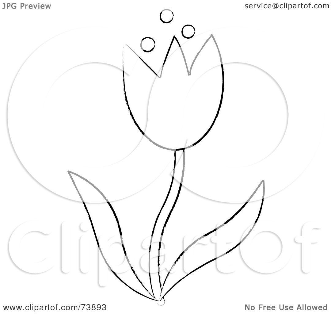 Tulip Clipart Black And White