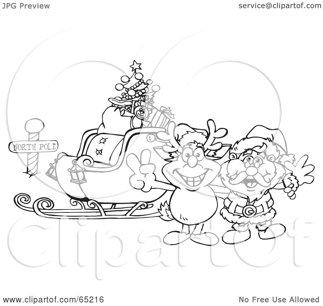 free clipart santa sleigh and reindeer black and white
