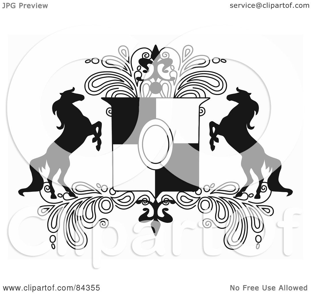 Royalty Free RF Clipart Illustration Of A Black And White Rearing Horse Crest With Paisleys By C Charley Franzwa