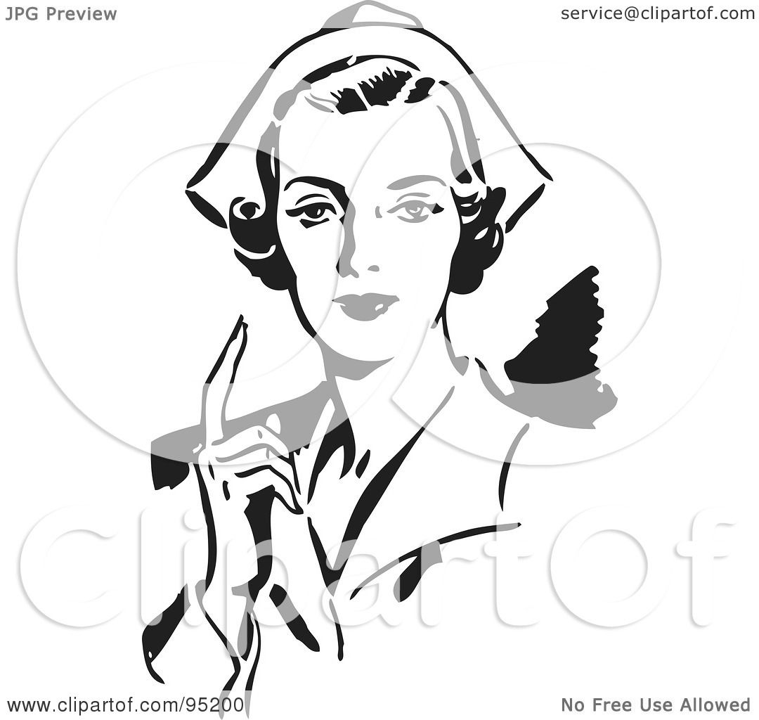 Clipart Of A Retro Vintage Black And White Old Woman