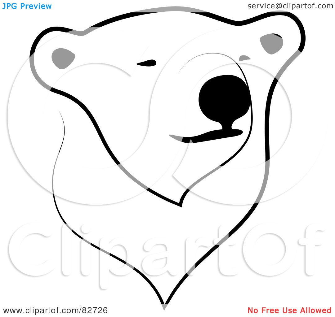 Polar bear face outline images for Polar bear face template