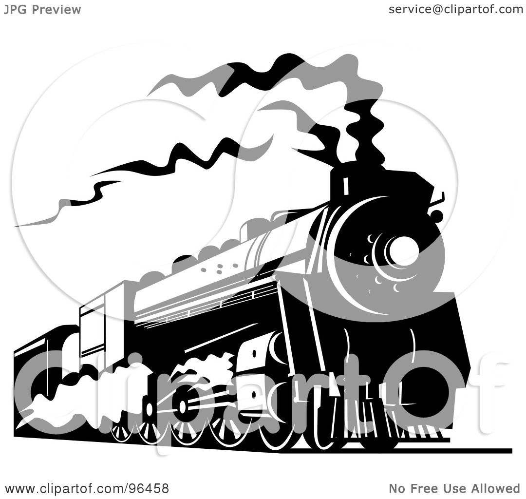 Royalty-Free (RF) Clipart Illustration of a Black And White Steam ...