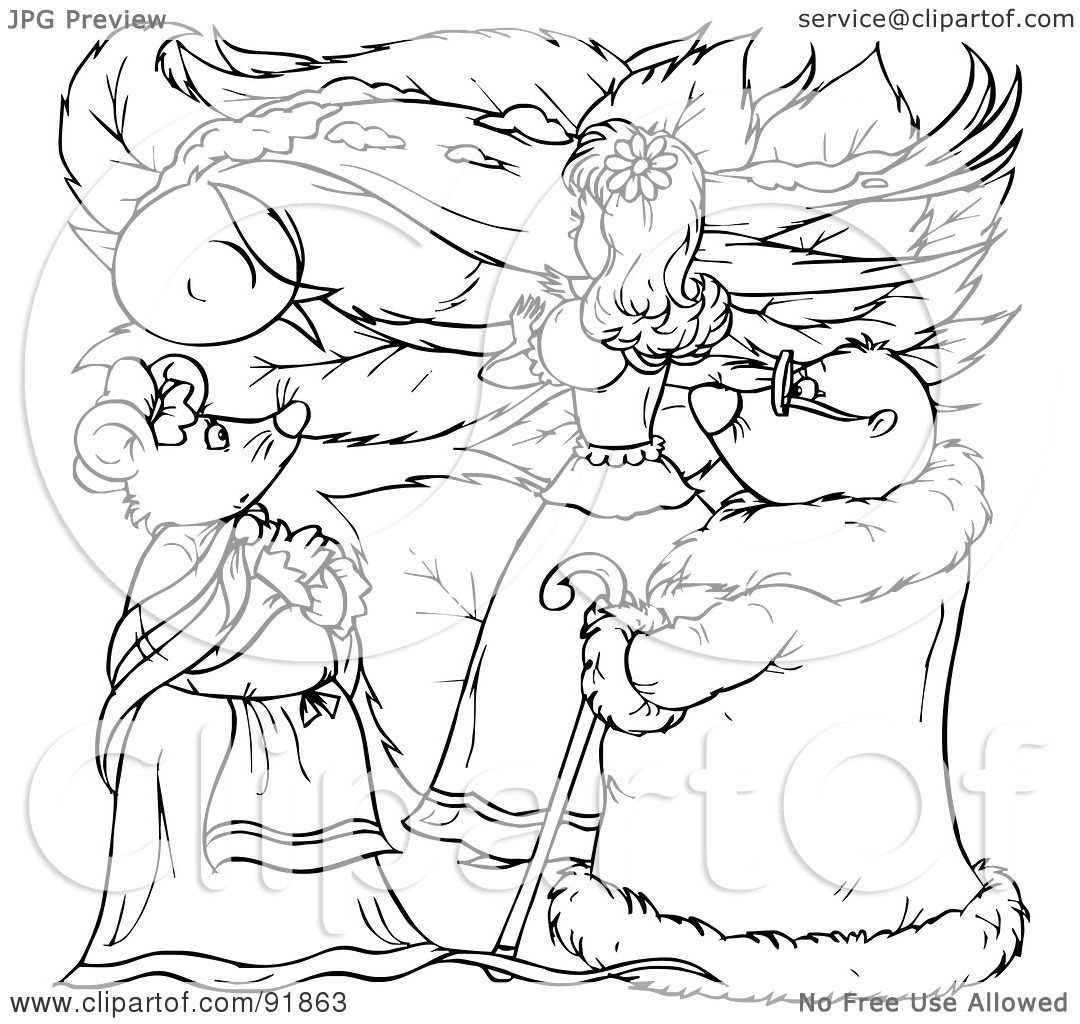 royalty free rf clipart illustration of a black and white thumbelina coloring page outline 8 by alex bannykh