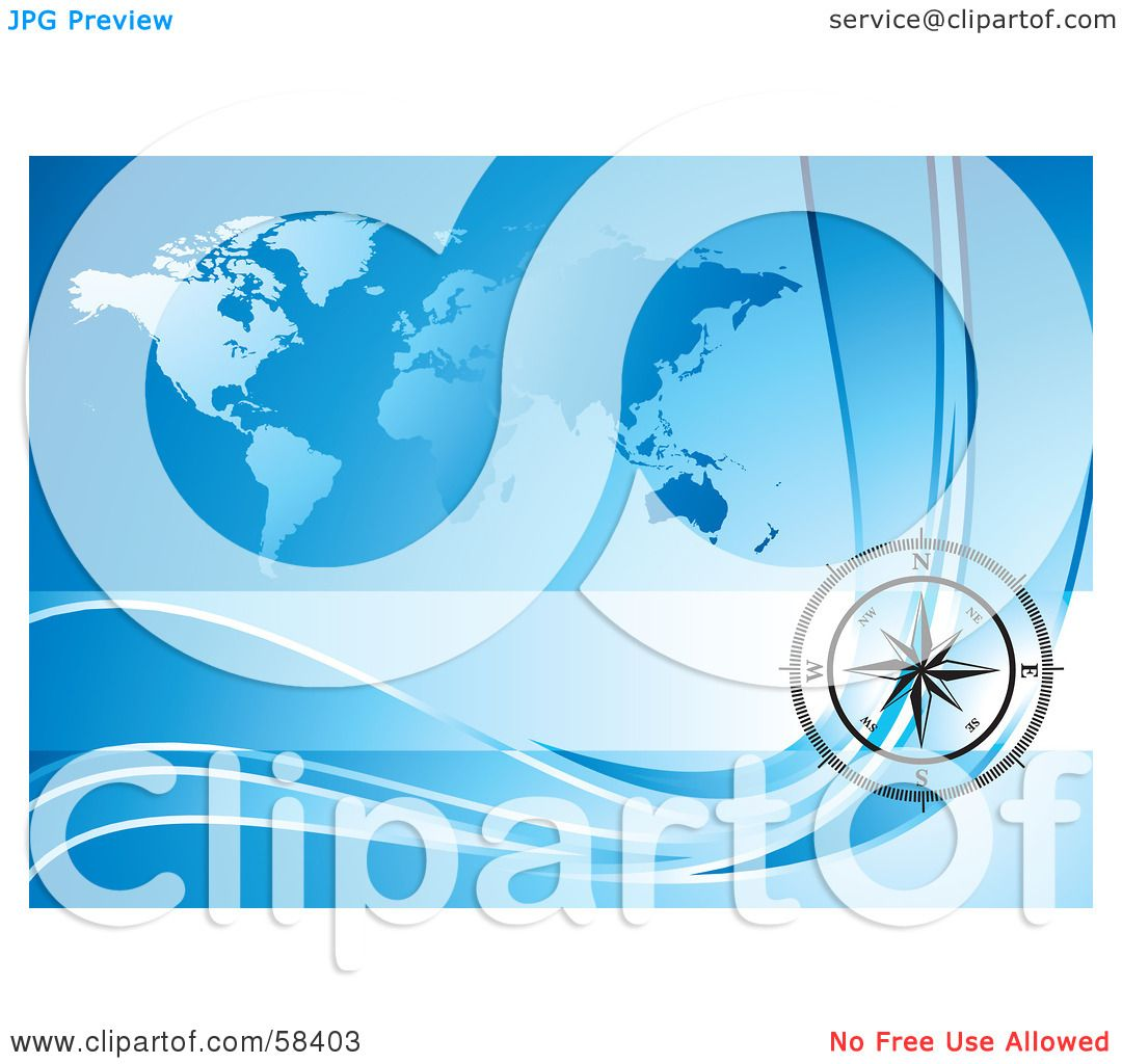 Royalty Free Rf Clipart Illustration Of A Black Compass Rose Over