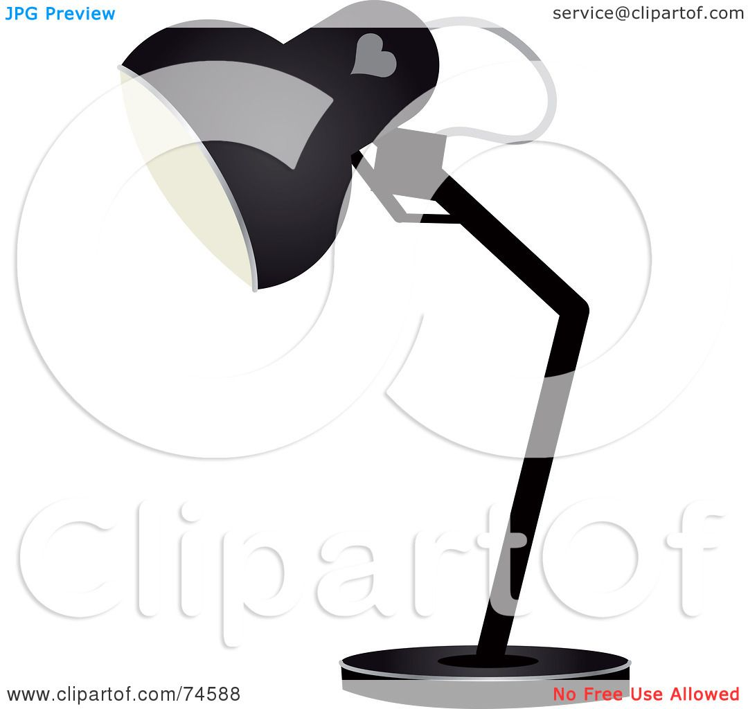 Royalty Free Desk Lamp Clip Art Vector Images: Royalty-Free (RF) Clipart Illustration Of A Black Desk