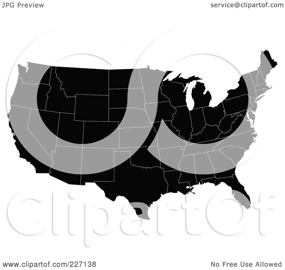 Royalty-Free (RF) Clipart Illustration of a Black Map Of The ...
