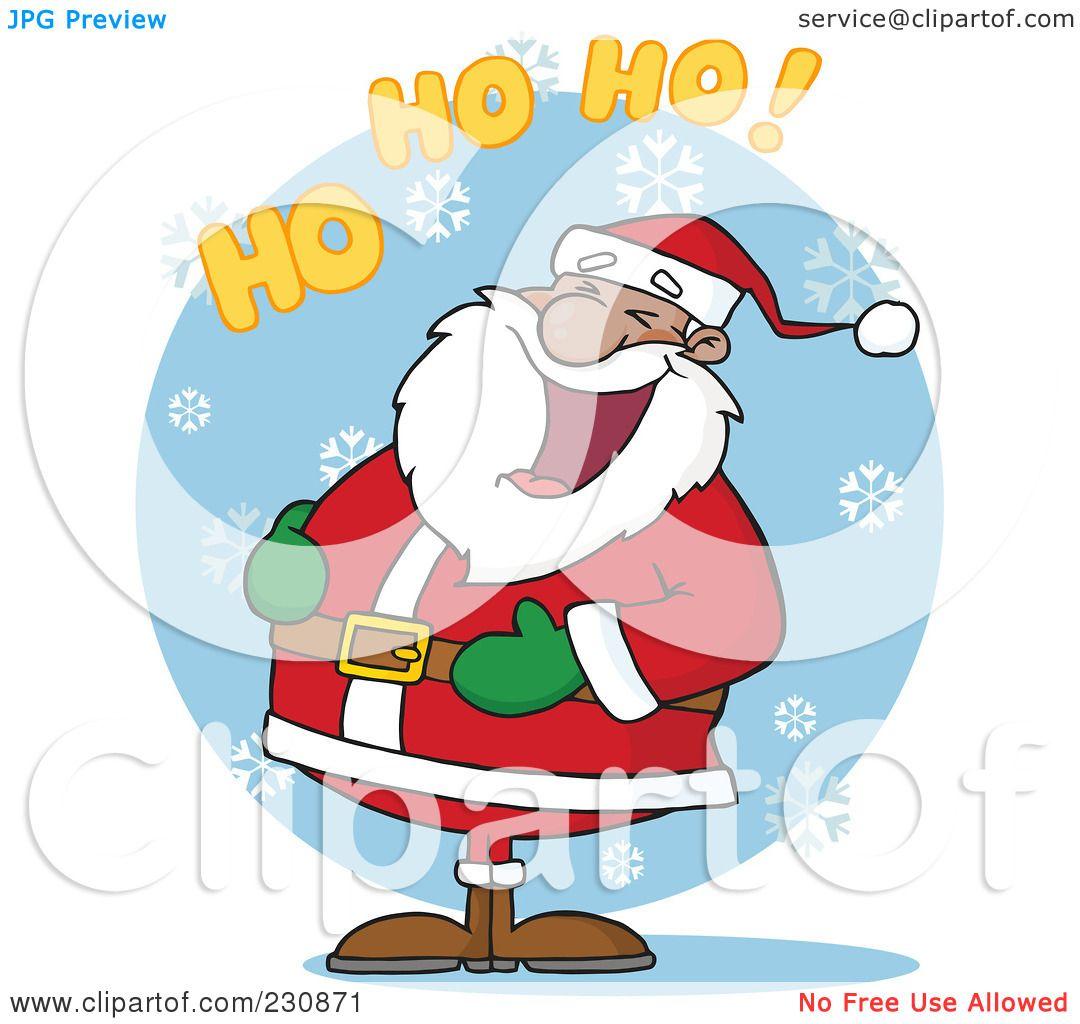 royalty free rf clipart illustration of a black santa laughing with ho ho ho text 2 by hit toon - Santa Hohoho 2