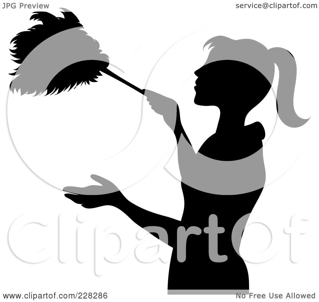 Royalty-Free (RF) Clipart Illustration of a Black Silhouetted Maid ...