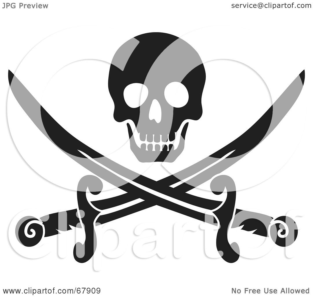 Royalty-Free (RF) Clipart Illustration of a Black Skull Over ...