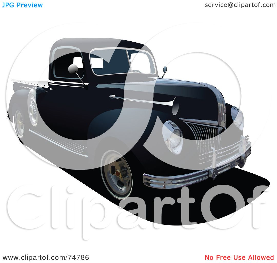 Green truck clipart royalty free rf pickup truck clipart - Royalty Free Rf Clipart Illustration Of A Black Vintage Pickup Truck By Leonid