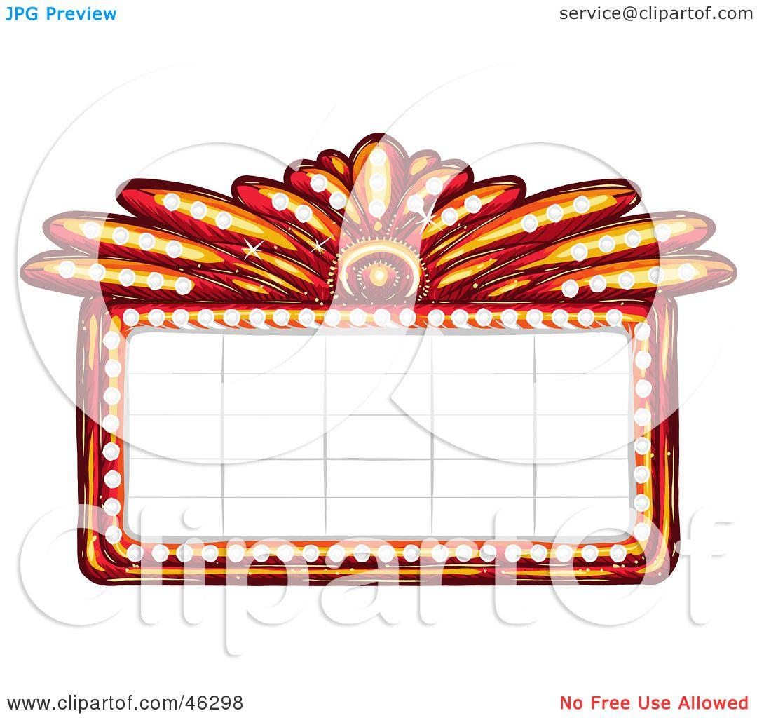 royalty free rf clipart illustration of a blank illuminated red rh clipartof com movie theatre marquee clipart movie marquee clip art for word documents