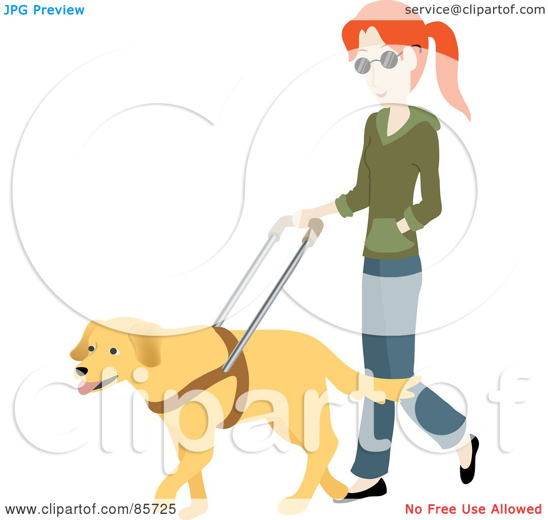 Royalty-Free (RF) Clipart Illustration of a Blind Caucasian Woman ...