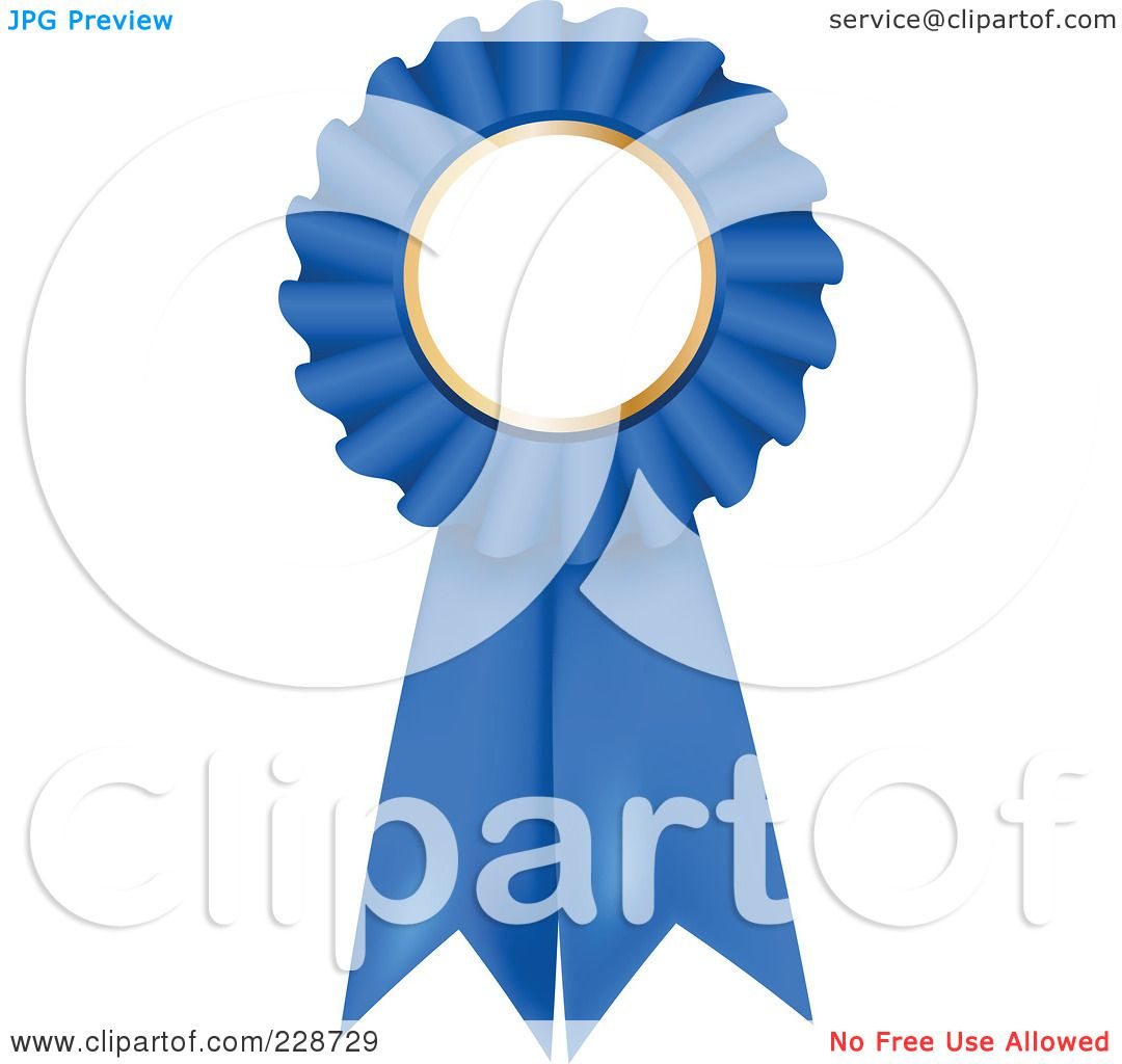 Royalty-Free (RF) Clipart Illustration of a Blue 3d Rosette Ribbon Award  With Copyspace by KJ Pargeter