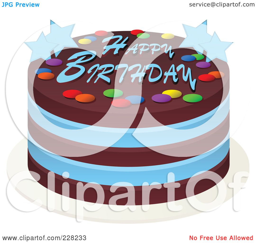 Royalty-Free (RF) Clipart Illustration Of A Blue And Chocolate Cake With Happy Birthday Text And