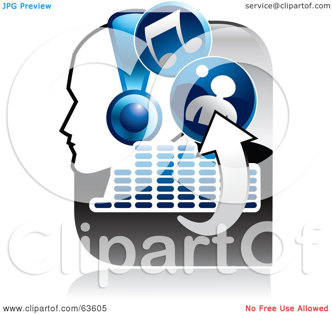 royalty free rf clipart illustration of a blue and gray music