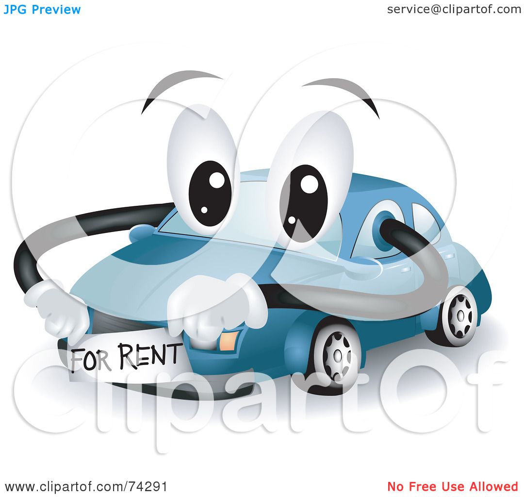 Blue car sticker design - Royalty Free Rf Clipart Illustration Of A Blue Car Character With A For Rent Sticker By Bnp Design Studio