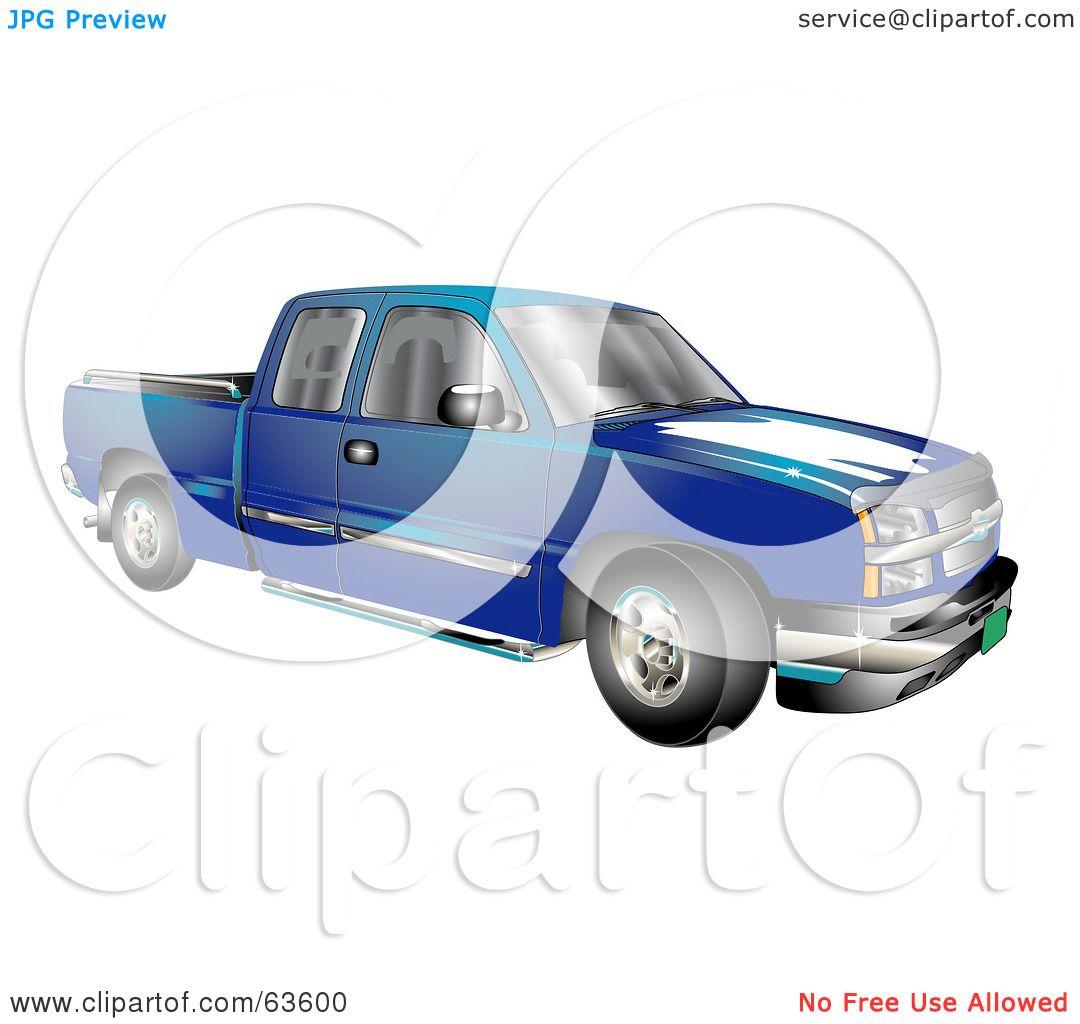 Green truck clipart royalty free rf pickup truck clipart - Royalty Free Rf Clipart Illustration Of A Blue Chevy Silverado Pickup Truck By Andy Nortnik