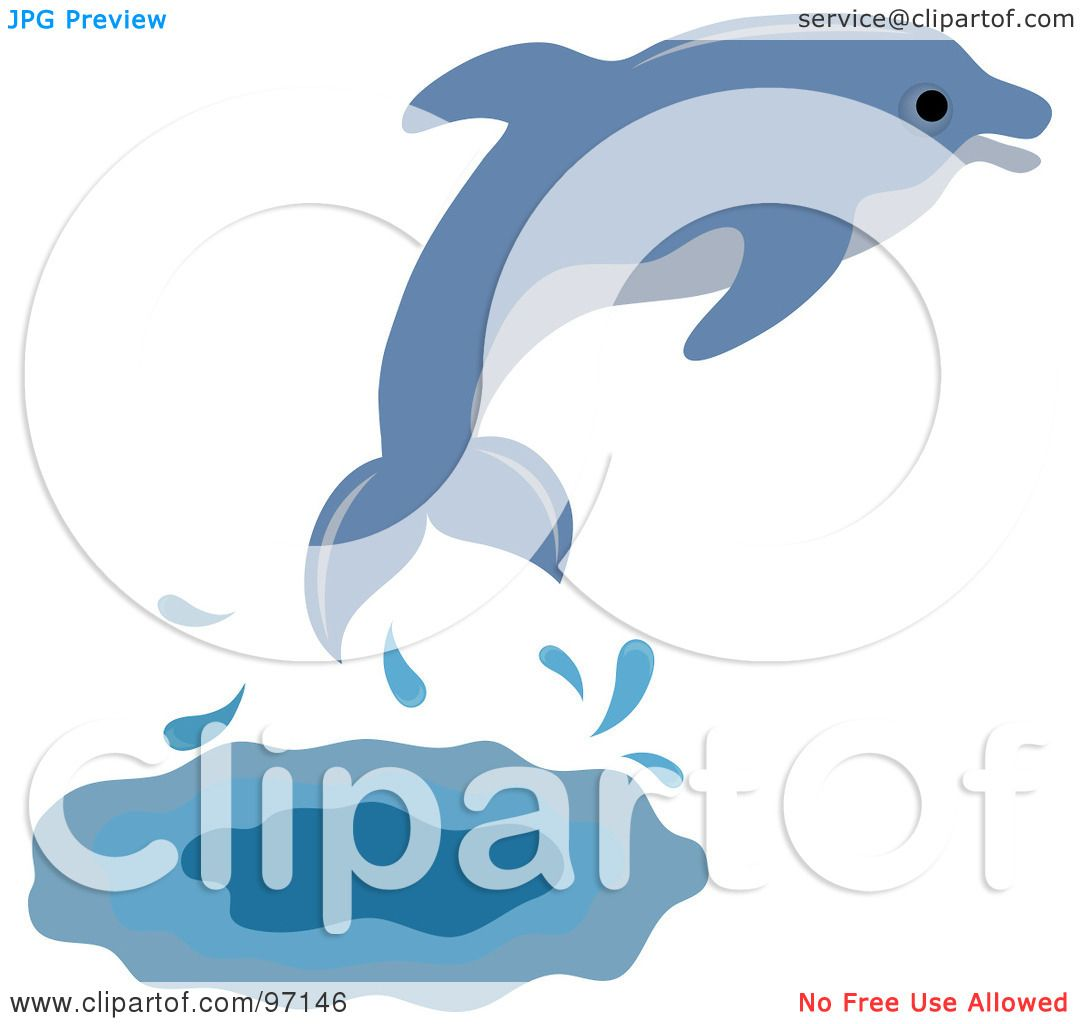 Royalty-Free (RF) Clipart Illustration of a Blue Dolphin ...