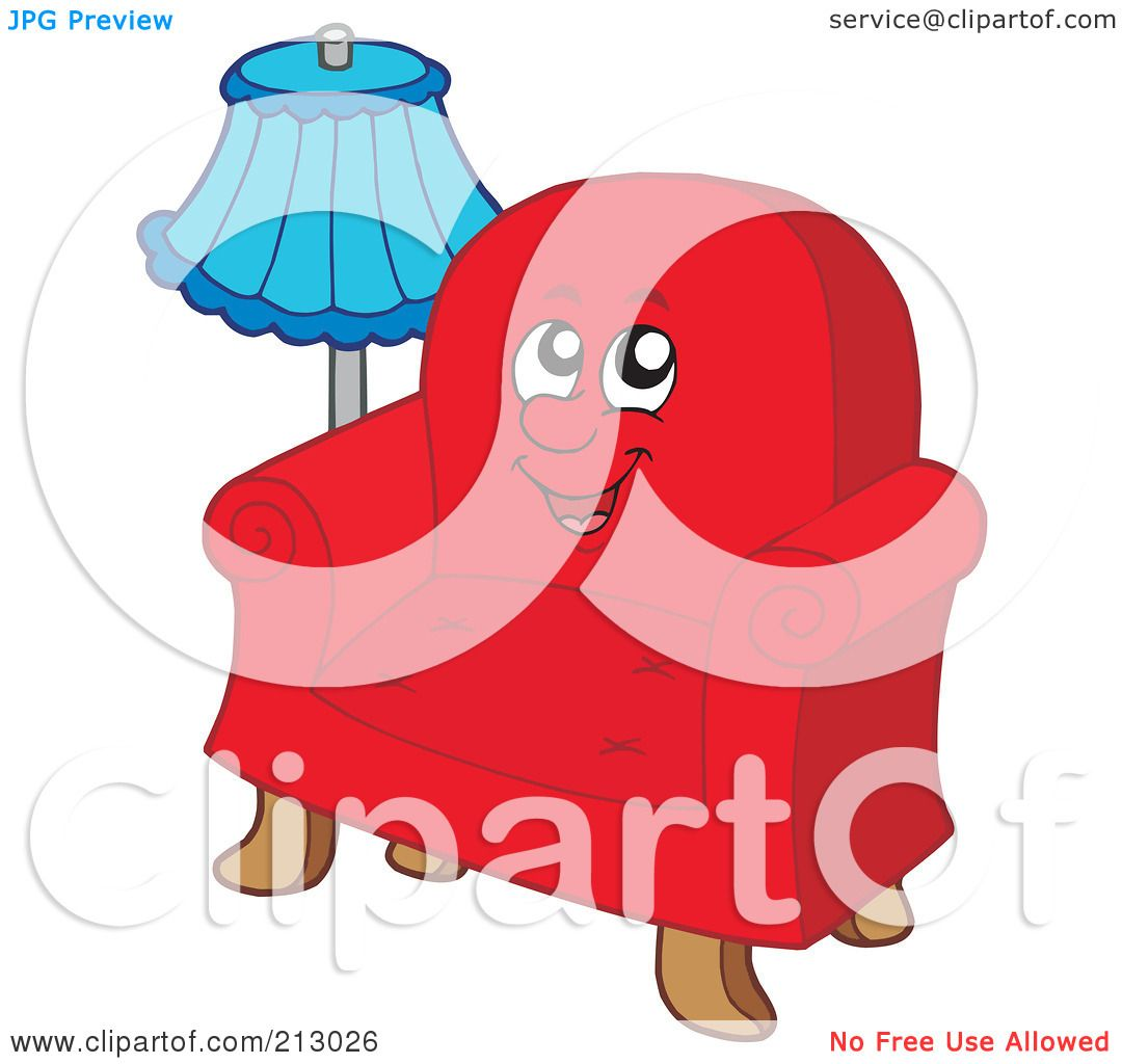 royalty free rf clipart illustration of a blue lamp by a red chair rh clipartof com