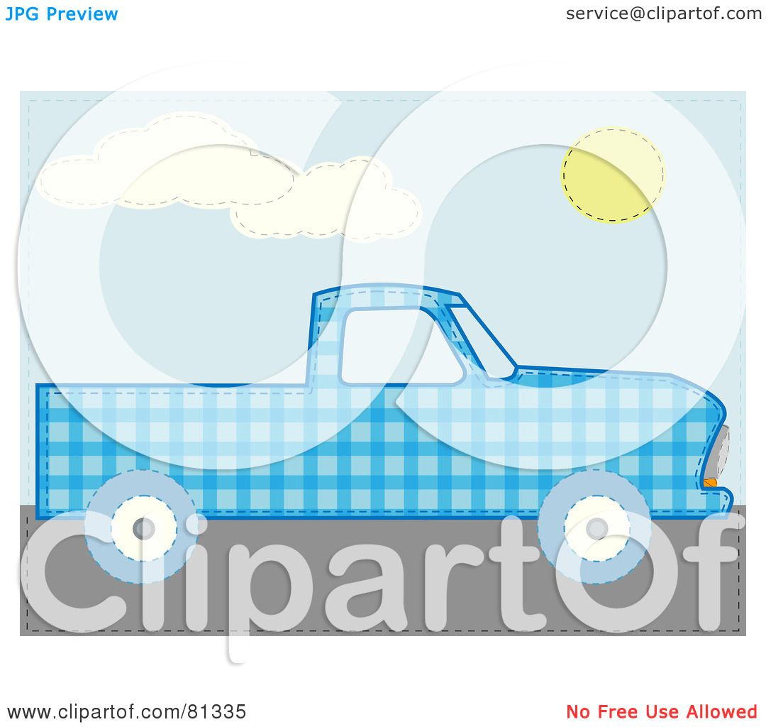 Green truck clipart royalty free rf pickup truck clipart - Royalty Free Rf Clipart Illustration Of A Blue Patchwork Pickup Truck By Mheld