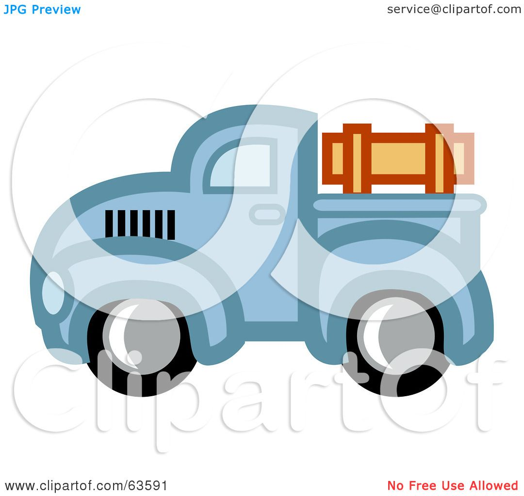 Green truck clipart royalty free rf pickup truck clipart - Royalty Free Rf Clipart Illustration Of A Blue Vintage Pickup Truck With Wooden Rails By Andy Nortnik
