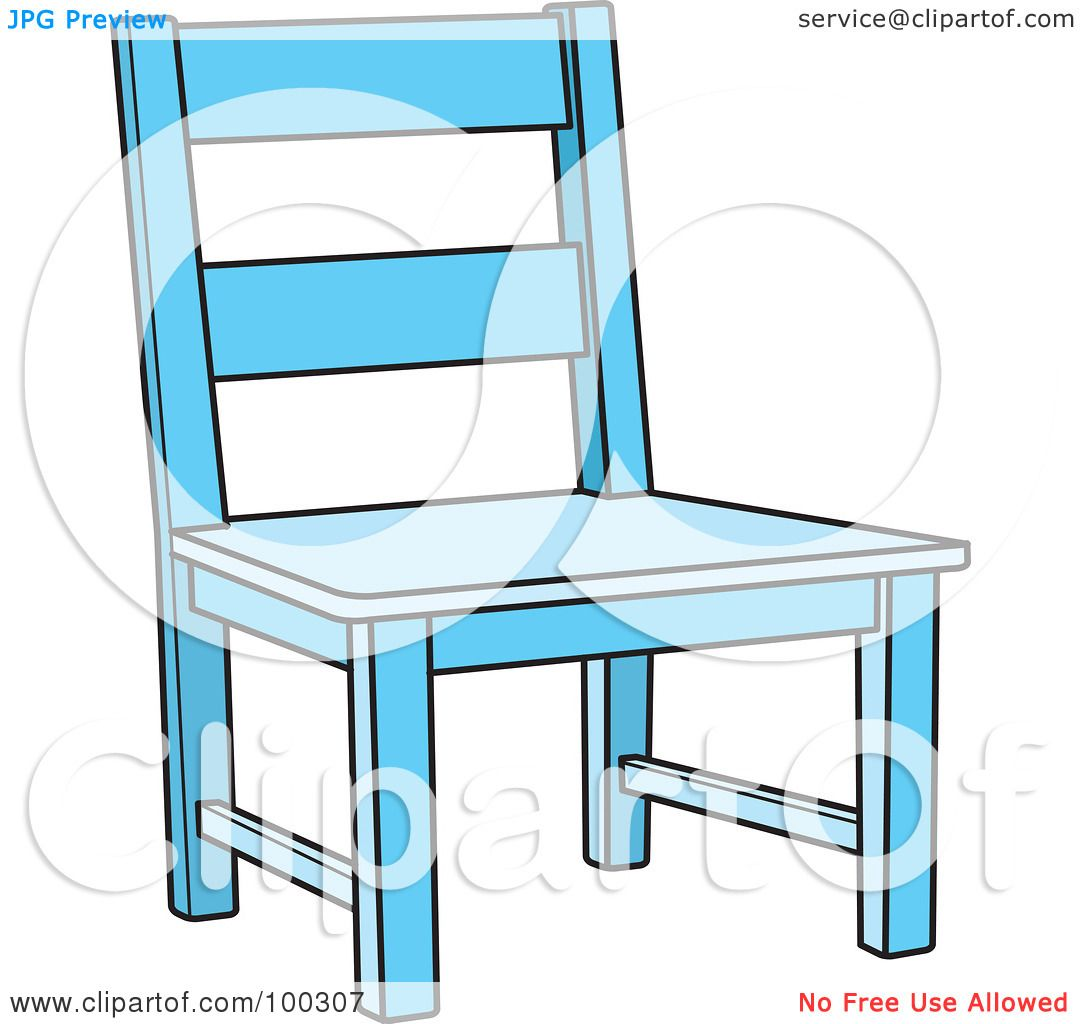 Royalty Free RF Clipart Illustration Of A Blue Wooden Chair By Lal Perera