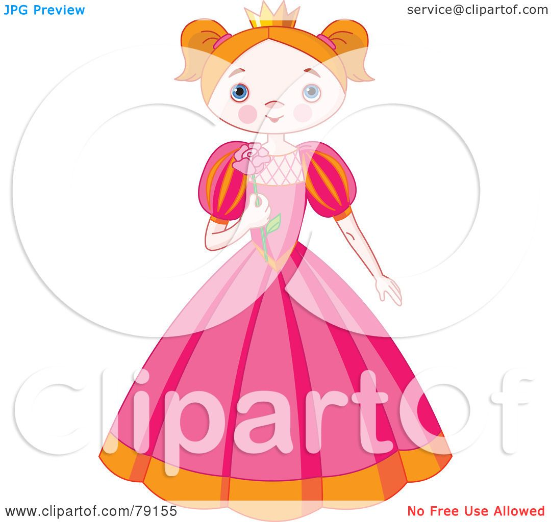 Royalty-Free (RF) Clipart Illustration of a Blushing Princess Girl ...