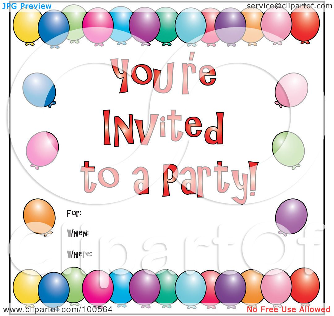 Colorful Party Invitations You're Invited to a Party