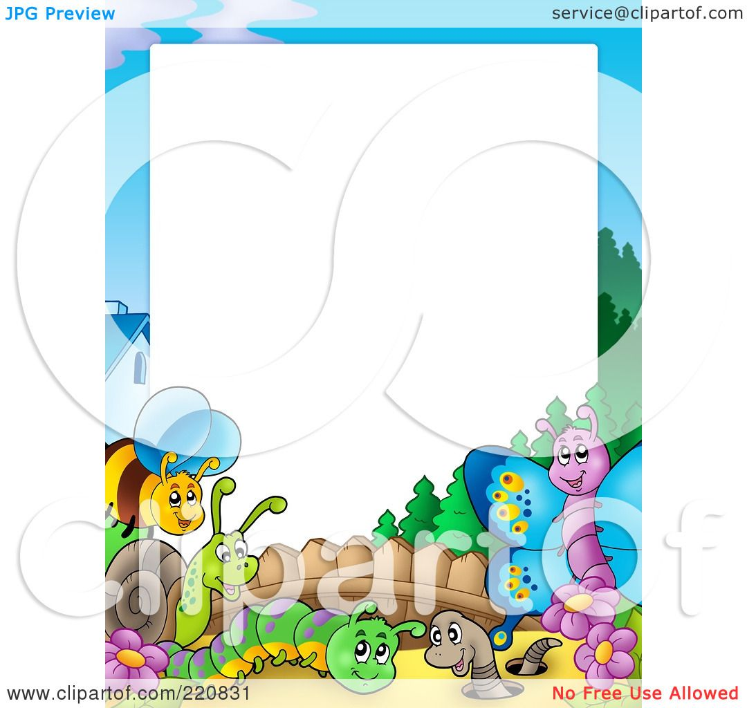 Royalty free rf clipart illustration of a border of for Free garden border designs