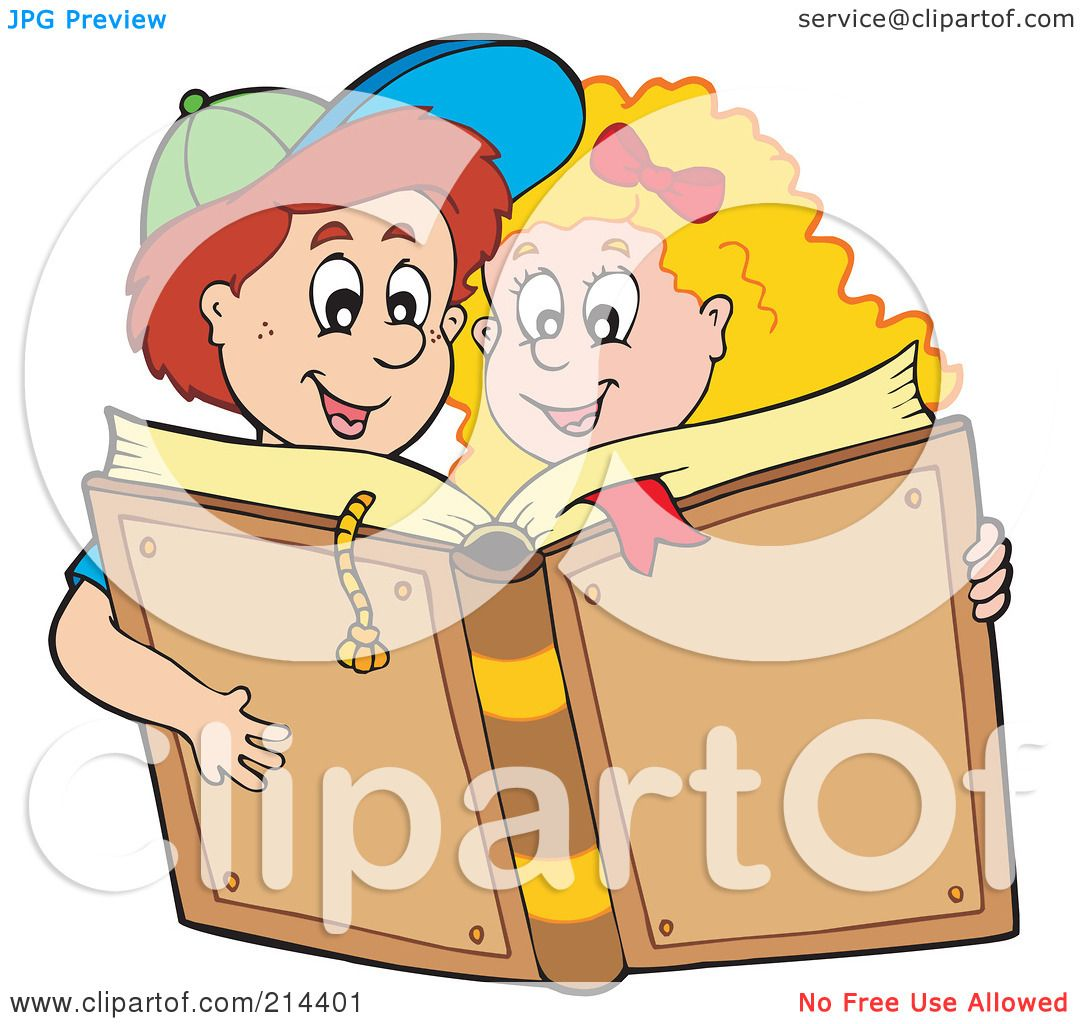 Boy and Girl Reading Clip Art