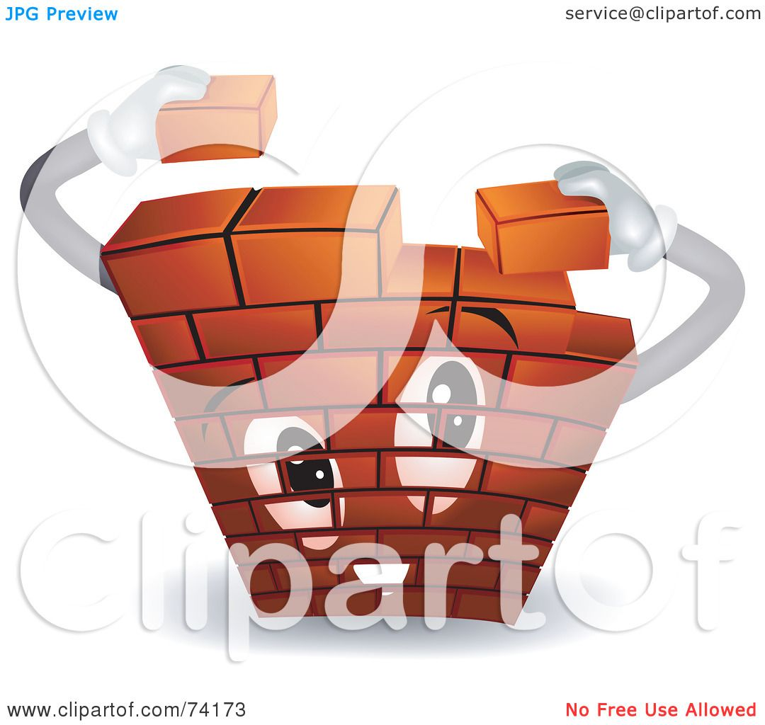 Royalty Free RF Clipart Illustration Of A Brick Wall Character Building Itself By BNP Design Studio