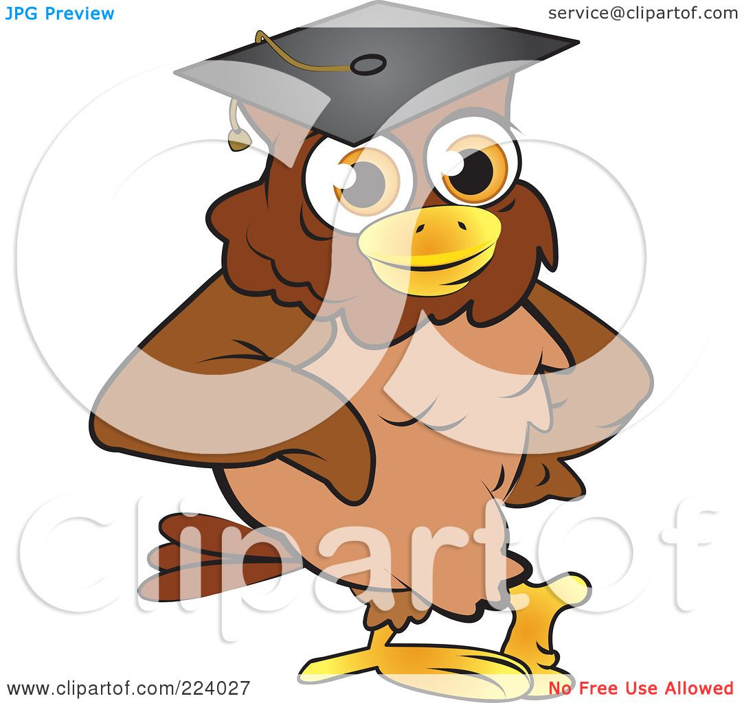 Royalty-Free (RF) Clipart Illustration of a Brown Owl ...
