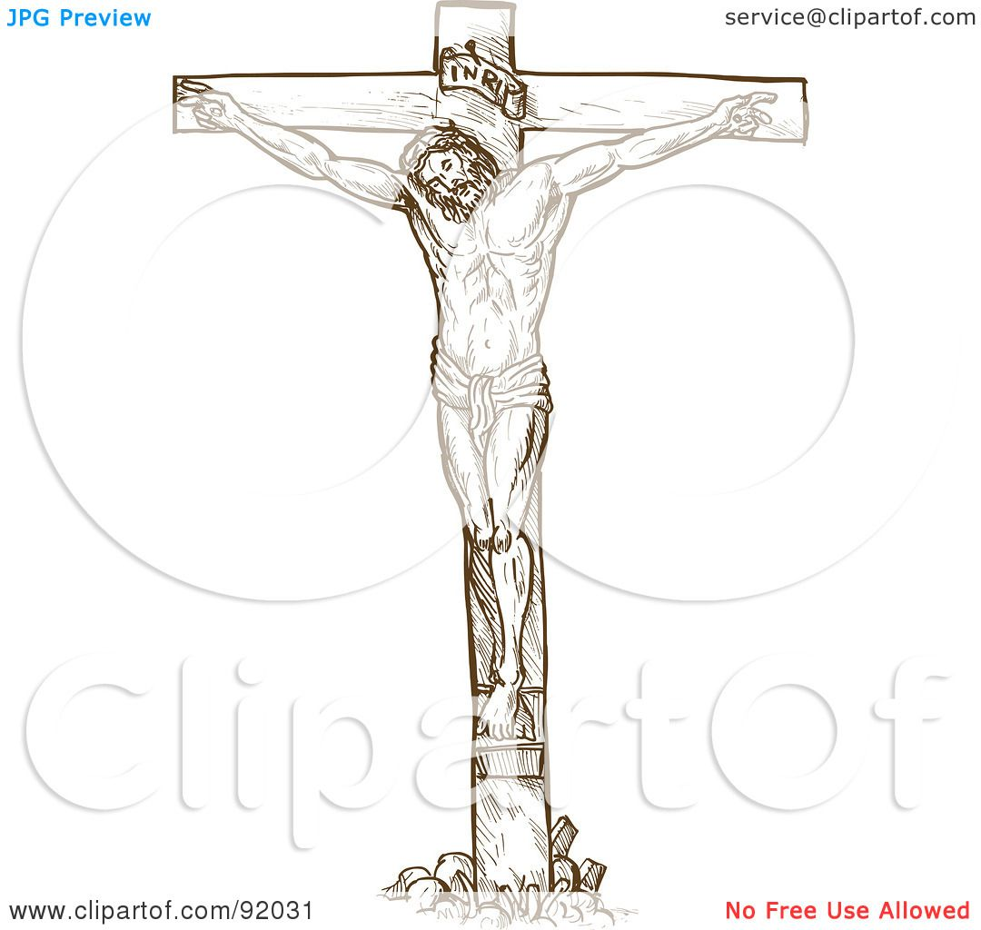 Royalty free rf clipart illustration of a brown sketch of jesus on the