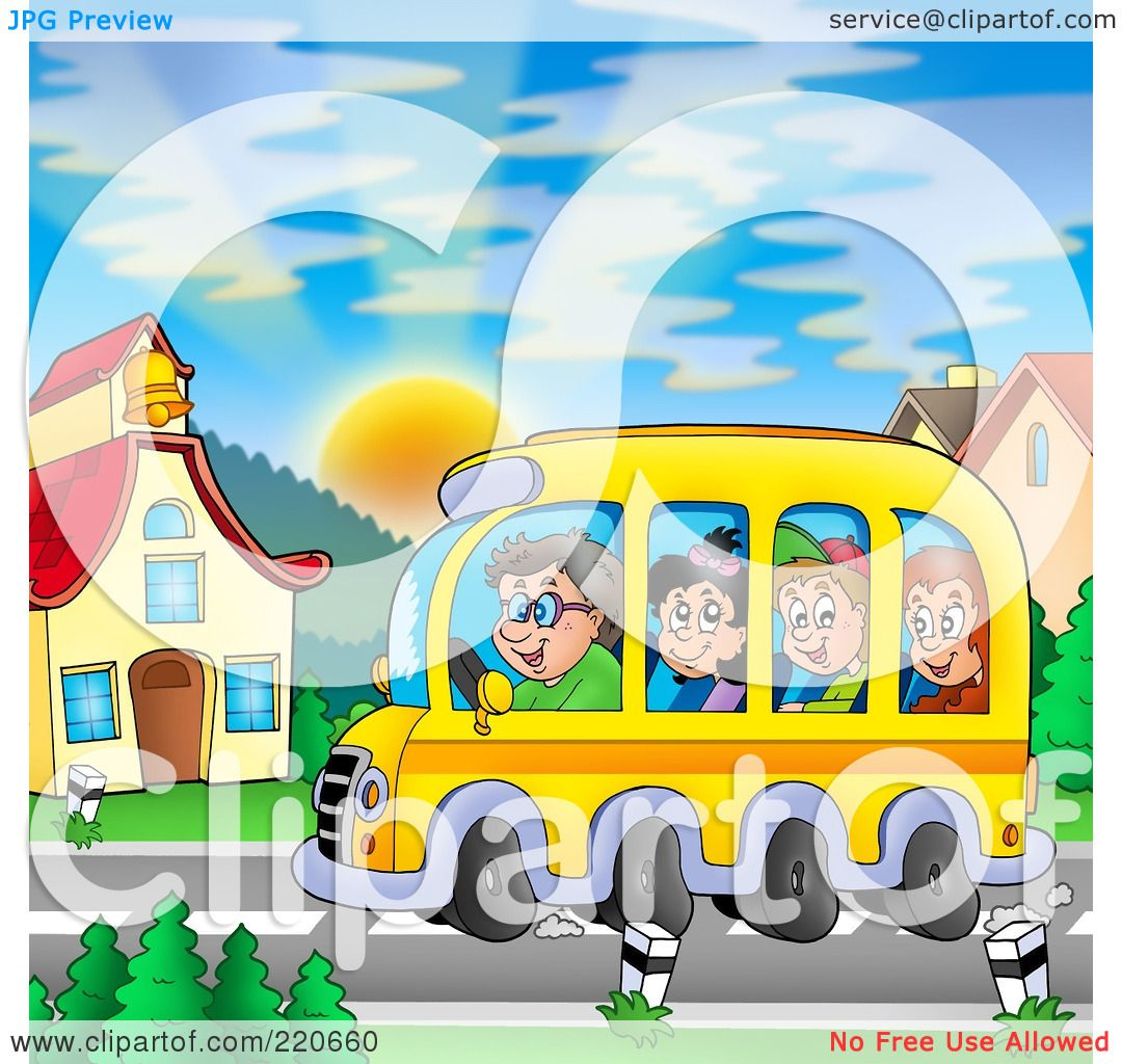 Royalty-Free (RF) Clipart Illustration of a Bus Of Of ...