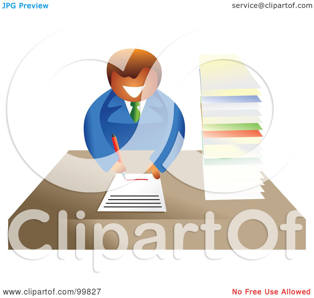 royalty-free (rf) clipart illustration of a business man filling out