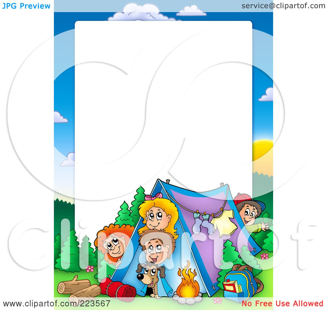 Royalty Free RF Clipart Illustration Of A Camping Kids Border Frame Around White Space By Visekart