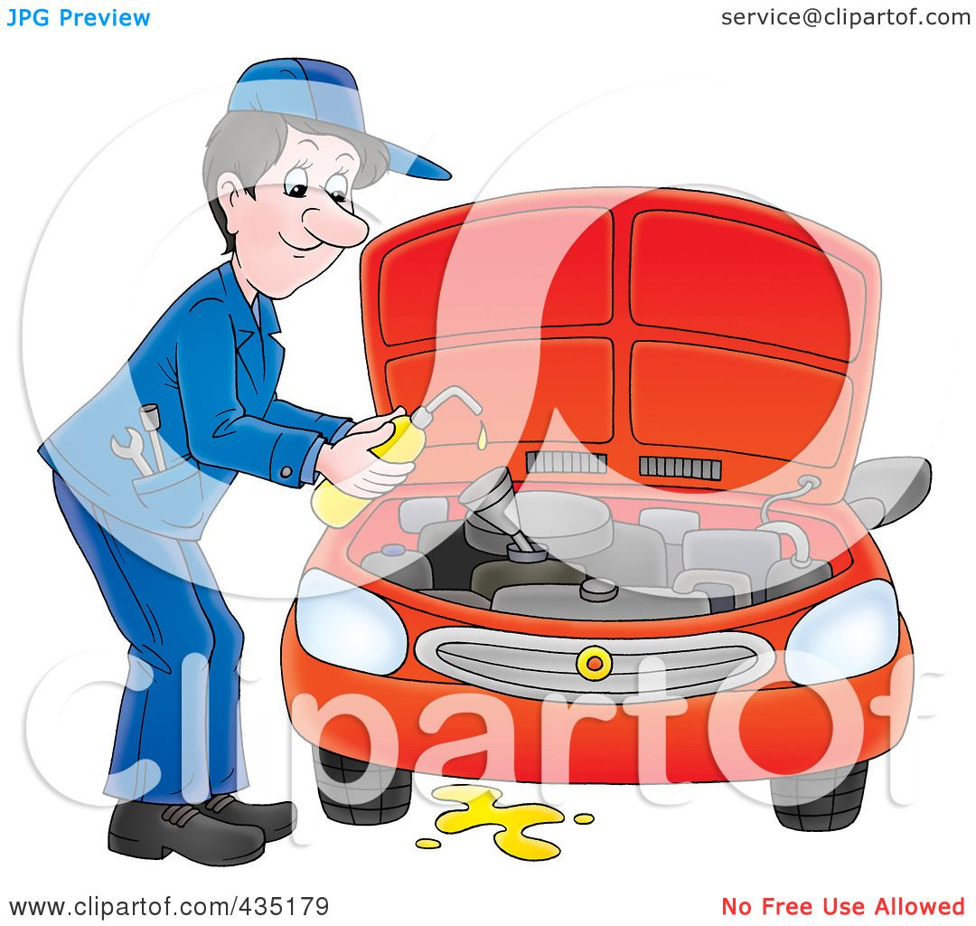 Royalty-Free (RF) Clipart Illustration of a Car Mechanic Changing ...