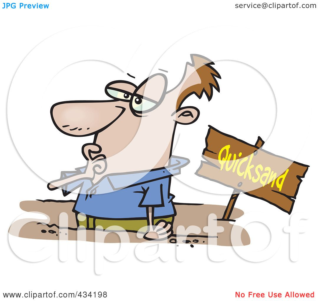 Royalty-Free (RF) Clipart Illustration of a Cartoon Businessman Sinking In Quicksand ...