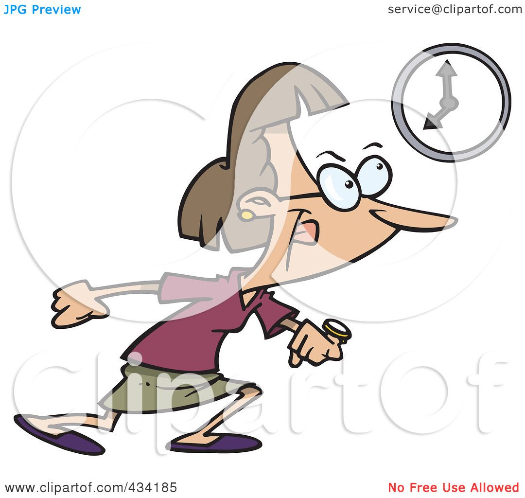 Royalty Free RF Clipart Illustration Of A Cartoon Businesswoman Leaving Work At The End