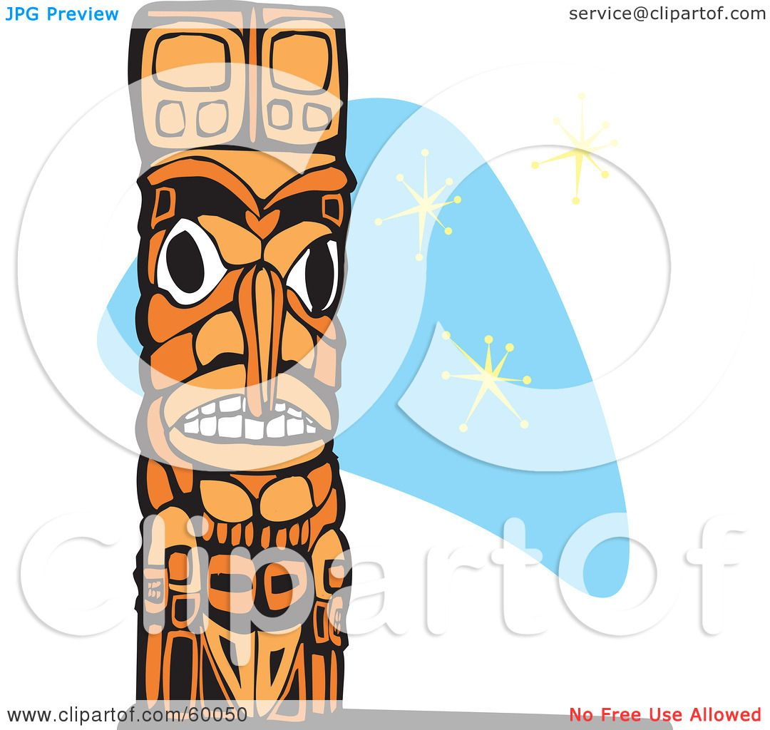 royalty free rf clipart illustration of a carved wooden totem pole rh clipartof com hawaiian totem pole clipart totem pole face clipart
