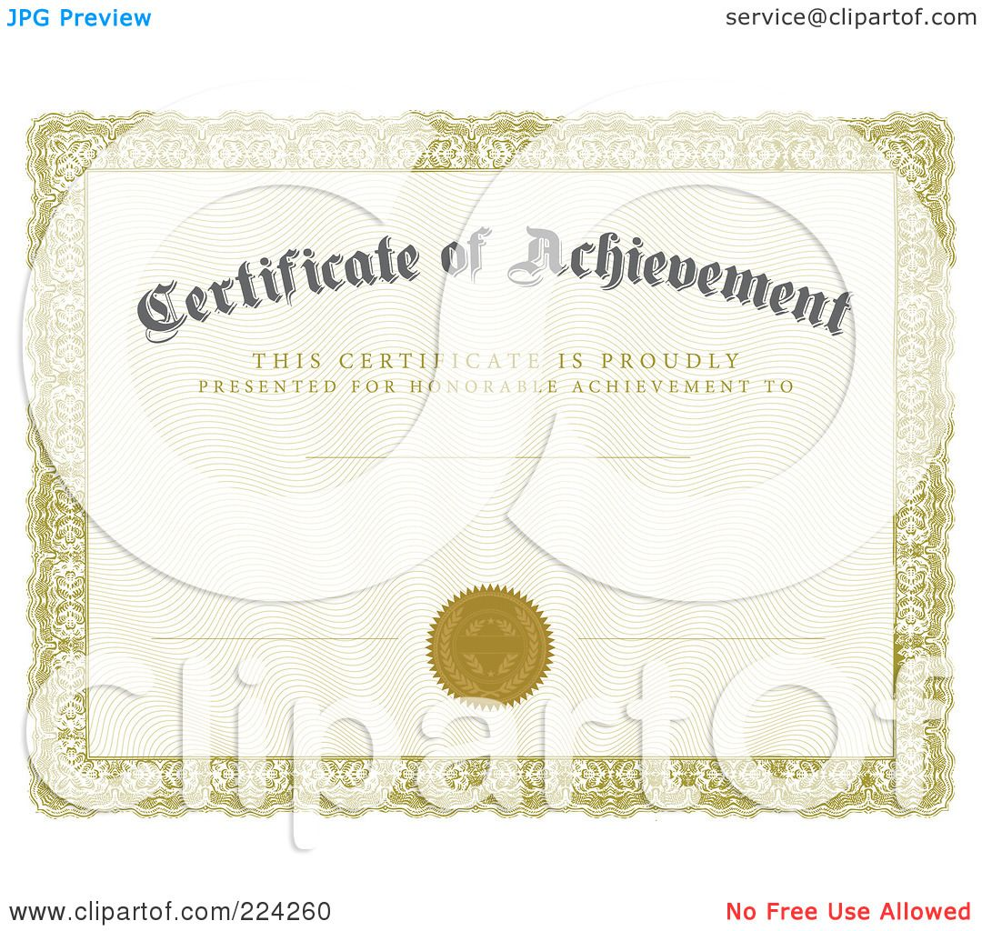 Certificate Of Achievement Templates Free Certificate of – Free Achievement Certificates