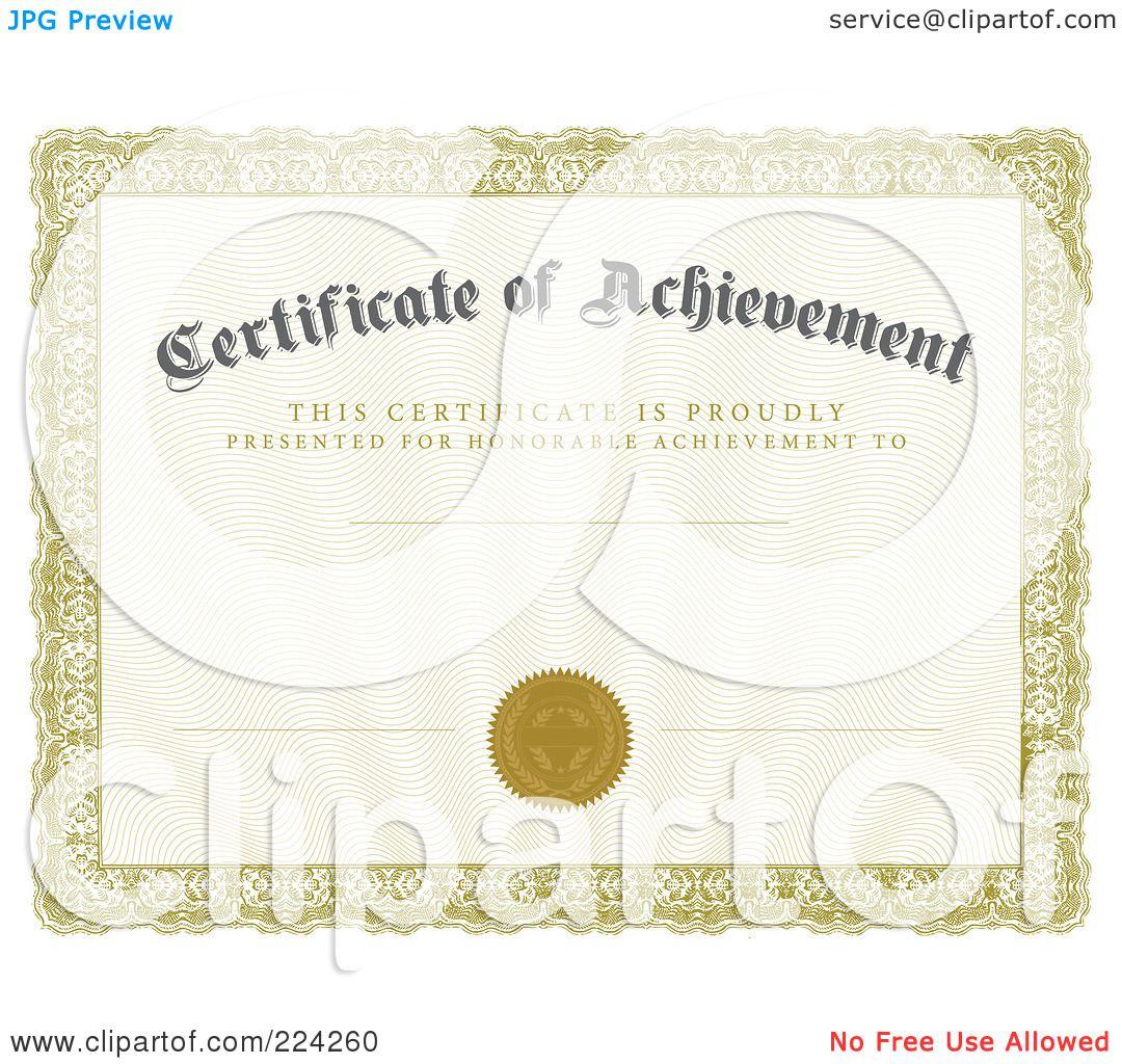 Doc27502125 Certificate Achievement Template Certificate of – Certificates of Achievement Templates Free