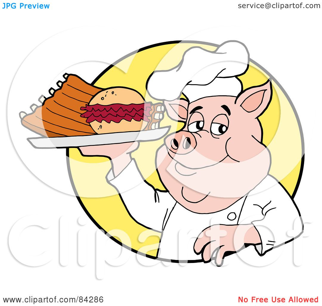 Royalty-Free (RF) Clipart Illustration of a Chef Pig ...