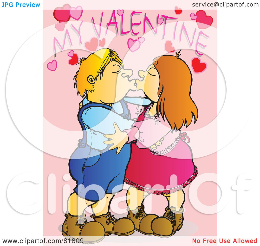 Royalty-Free (RF) Clipart Illustration of a Child Couple Smooching ...