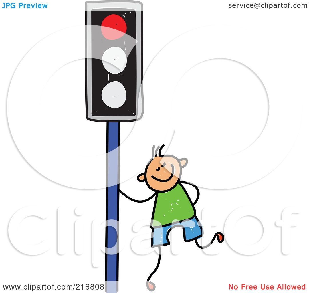 Royalty-Free (RF) Clipart Illustration of a Childs Sketch Of A Boy ... for Traffic Light Sketch  21ane
