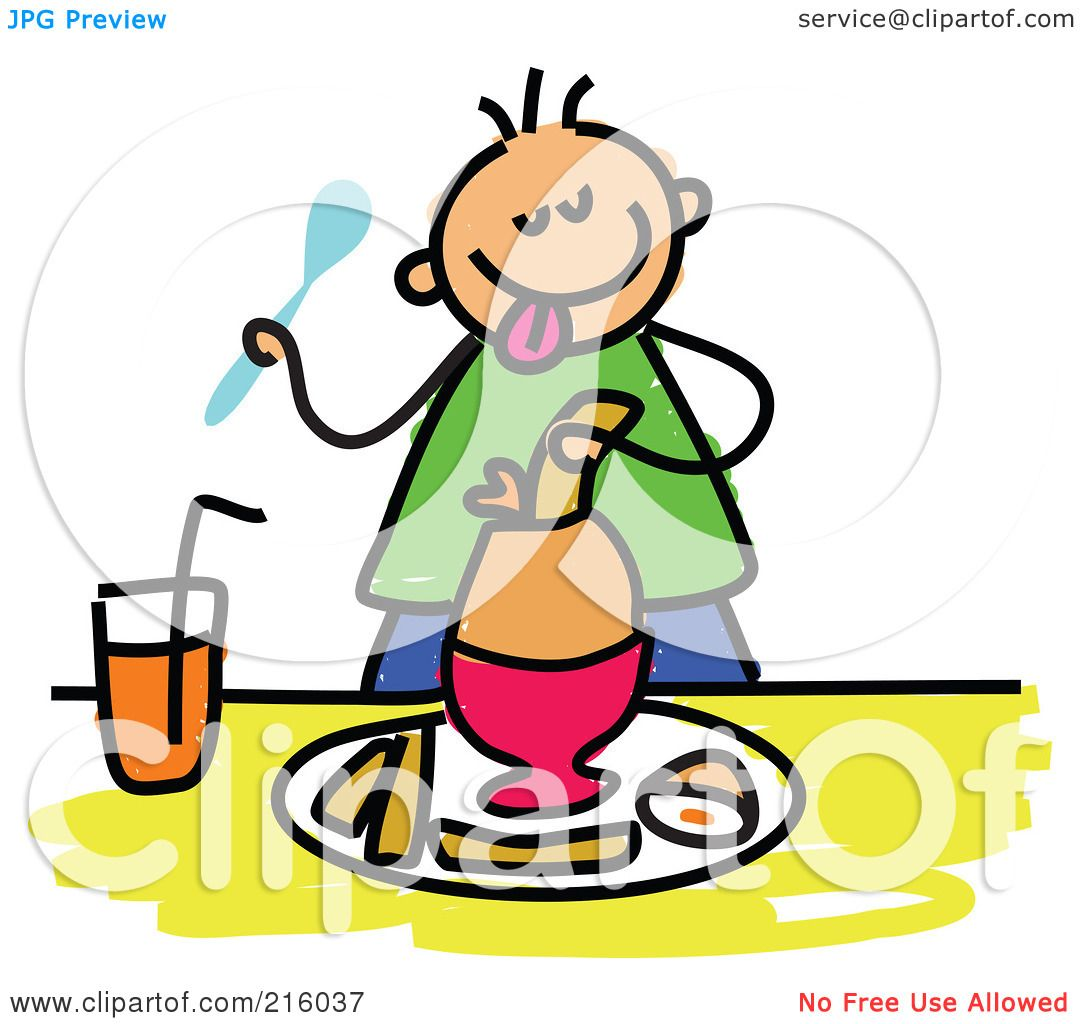 -Free (RF) Clipart Illustration of a Childs Sketch Of A Boy Eating ...