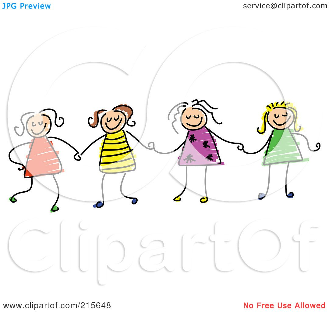Girls Holding Hands Stock Vectors Clipart and Illustrations